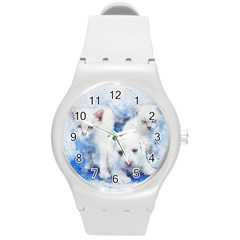 Dog Cats Pet Art Abstract Round Plastic Sport Watch (m)