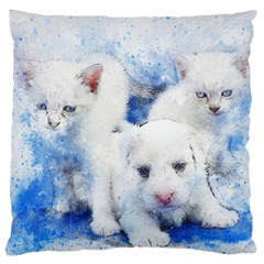 Dog Cats Pet Art Abstract Large Cushion Case (two Sides)