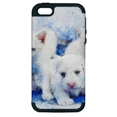 Dog Cats Pet Art Abstract Apple Iphone 5 Hardshell Case (pc+silicone)