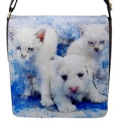 Dog Cats Pet Art Abstract Flap Messenger Bag (s)