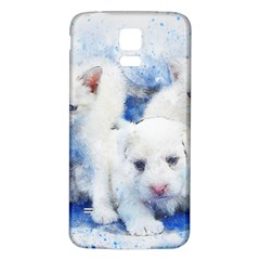 Dog Cats Pet Art Abstract Samsung Galaxy S5 Back Case (white)