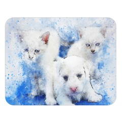 Dog Cats Pet Art Abstract Double Sided Flano Blanket (large)