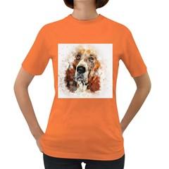 Dog Basset Pet Art Abstract Women s Dark T Shirt