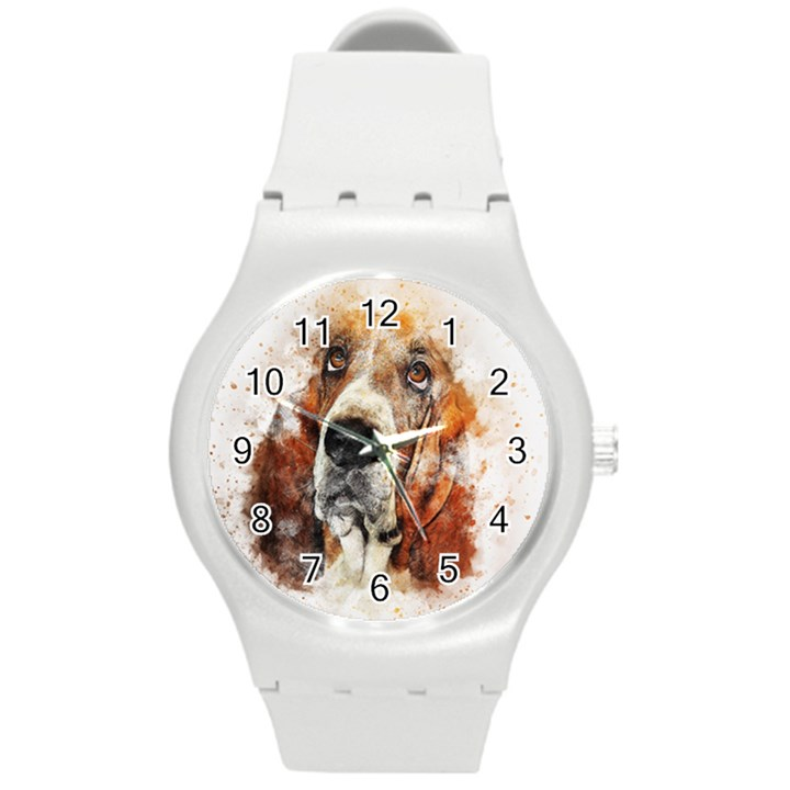 Dog Basset Pet Art Abstract Round Plastic Sport Watch (M)