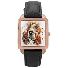 Dog Basset Pet Art Abstract Rose Gold Leather Watch