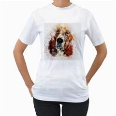 Dog Basset Pet Art Abstract Women s T Shirt (white)