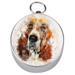 Dog Basset Pet Art Abstract Silver Compasses