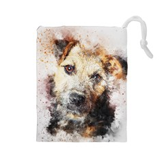Dog Animal Pet Art Abstract Drawstring Pouches (large)