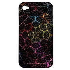 Background Grid Art Abstract Apple Iphone 4/4s Hardshell Case (pc+silicone)