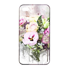 Flowers Bouquet Art Abstract Apple Iphone 4/4s Seamless Case (black)