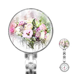 Flowers Bouquet Art Abstract Stainless Steel Nurses Watch