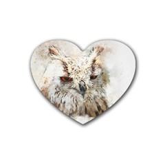 Bird Owl Animal Art Abstract Heart Coaster (4 Pack)