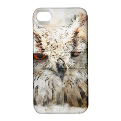 Bird Owl Animal Art Abstract Apple Iphone 4/4s Hardshell Case With Stand