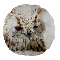 Bird Owl Animal Art Abstract Large 18  Premium Flano Round Cushions