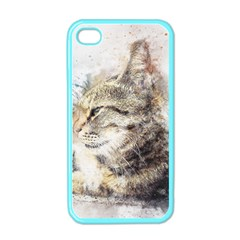 Cat Animal Art Abstract Watercolor Apple Iphone 4 Case (color)