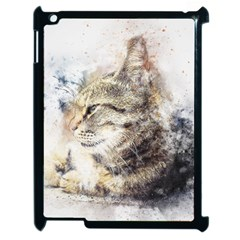 Cat Animal Art Abstract Watercolor Apple Ipad 2 Case (black)