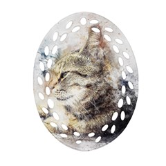 Cat Animal Art Abstract Watercolor Oval Filigree Ornament (two Sides)