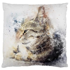 Cat Animal Art Abstract Watercolor Large Cushion Case (one Side)