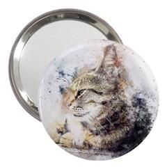 Cat Animal Art Abstract Watercolor 3  Handbag Mirrors