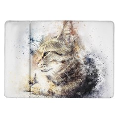Cat Animal Art Abstract Watercolor Samsung Galaxy Tab 10 1  P7500 Flip Case
