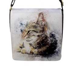 Cat Animal Art Abstract Watercolor Flap Messenger Bag (l)
