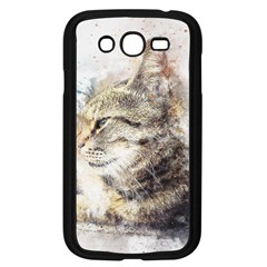 Cat Animal Art Abstract Watercolor Samsung Galaxy Grand Duos I9082 Case (black)