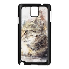 Cat Animal Art Abstract Watercolor Samsung Galaxy Note 3 N9005 Case (black)