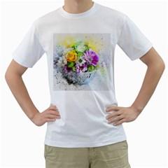 Flowers Vase Art Abstract Nature Men s T Shirt (white)