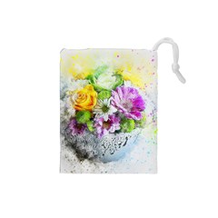 Flowers Vase Art Abstract Nature Drawstring Pouches (small)