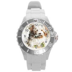 Dog Animal Pet Art Abstract Round Plastic Sport Watch (l)