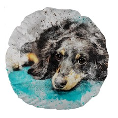 Dog Animal Art Abstract Watercolor Large 18  Premium Round Cushions