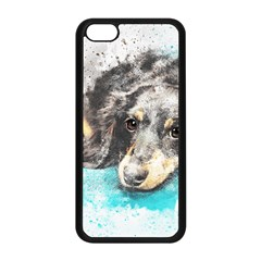 Dog Animal Art Abstract Watercolor Apple Iphone 5c Seamless Case (black)
