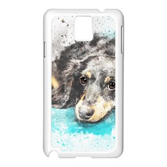 Dog Animal Art Abstract Watercolor Samsung Galaxy Note 3 N9005 Case (white)