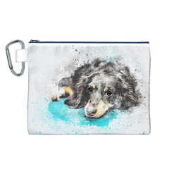 Dog Animal Art Abstract Watercolor Canvas Cosmetic Bag (l)