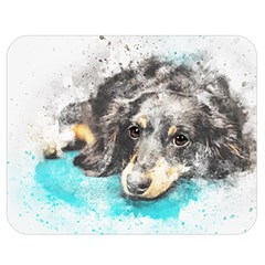 Dog Animal Art Abstract Watercolor Double Sided Flano Blanket (medium)