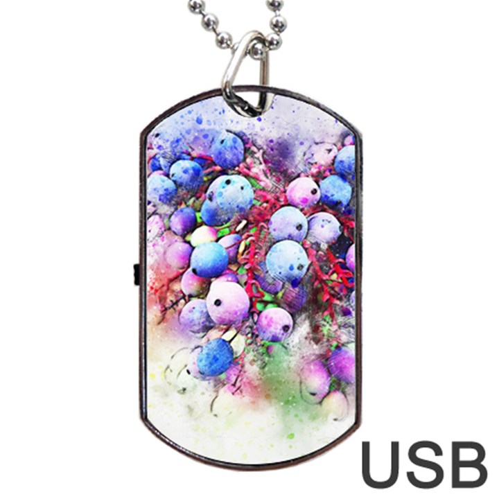 Berries Pink Blue Art Abstract Dog Tag USB Flash (One Side)
