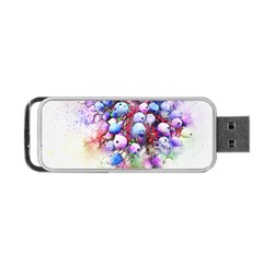 Berries Pink Blue Art Abstract Portable Usb Flash (one Side)