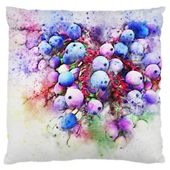 Berries Pink Blue Art Abstract Large Flano Cushion Case (one Side)