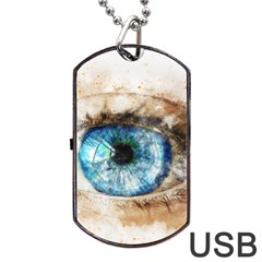 Eye Blue Girl Art Abstract Dog Tag Usb Flash (one Side)