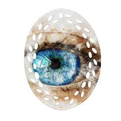 Eye Blue Girl Art Abstract Oval Filigree Ornament (two Sides)