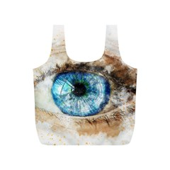 Eye Blue Girl Art Abstract Full Print Recycle Bags (s)