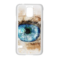 Eye Blue Girl Art Abstract Samsung Galaxy S5 Case (white)