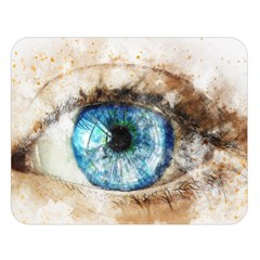 Eye Blue Girl Art Abstract Double Sided Flano Blanket (large)