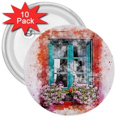 Window Flowers Nature Art Abstract 3  Buttons (10 Pack)