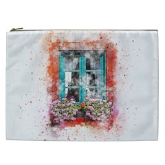 Window Flowers Nature Art Abstract Cosmetic Bag (xxl)