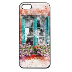 Window Flowers Nature Art Abstract Apple Iphone 5 Seamless Case (black)