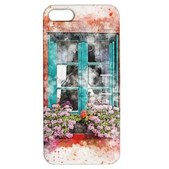 Window Flowers Nature Art Abstract Apple Iphone 5 Hardshell Case With Stand