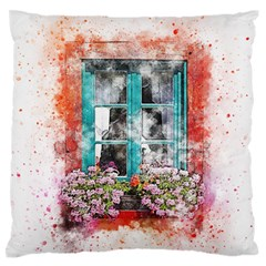 Window Flowers Nature Art Abstract Large Flano Cushion Case (one Side)