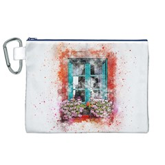 Window Flowers Nature Art Abstract Canvas Cosmetic Bag (xl)