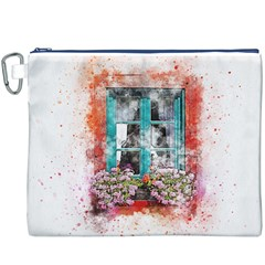 Window Flowers Nature Art Abstract Canvas Cosmetic Bag (xxxl)